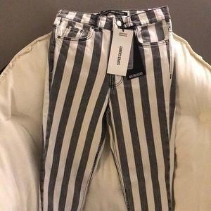 Zara striped skinny jeans